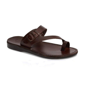 Abner Brown, handmade leather slide sandals with toe loop - Front View
