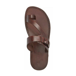 Abner Brown, handmade leather slide sandals with toe loop - Side View