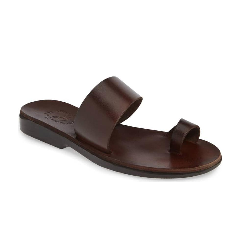 Abra brown, handmade leather slide sandals with toe loop - Front View