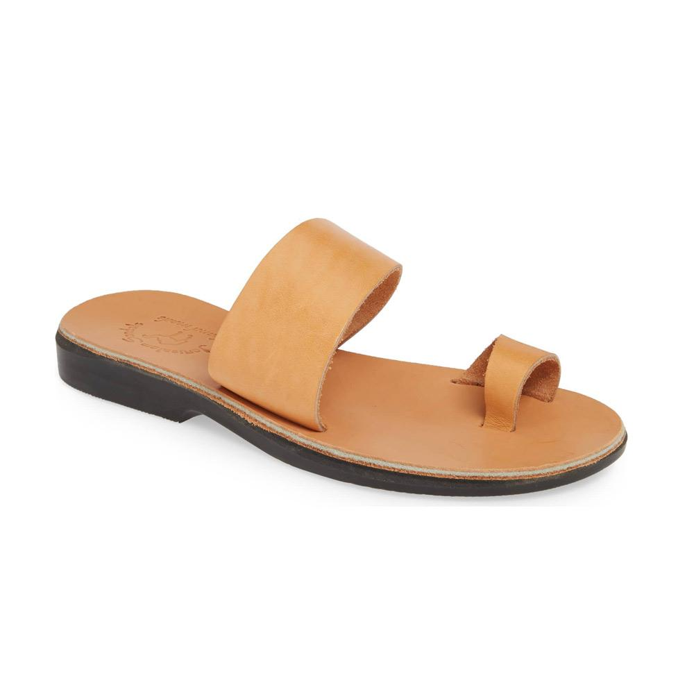 Abra tan, handmade leather slide sandals with toe loop - Front View