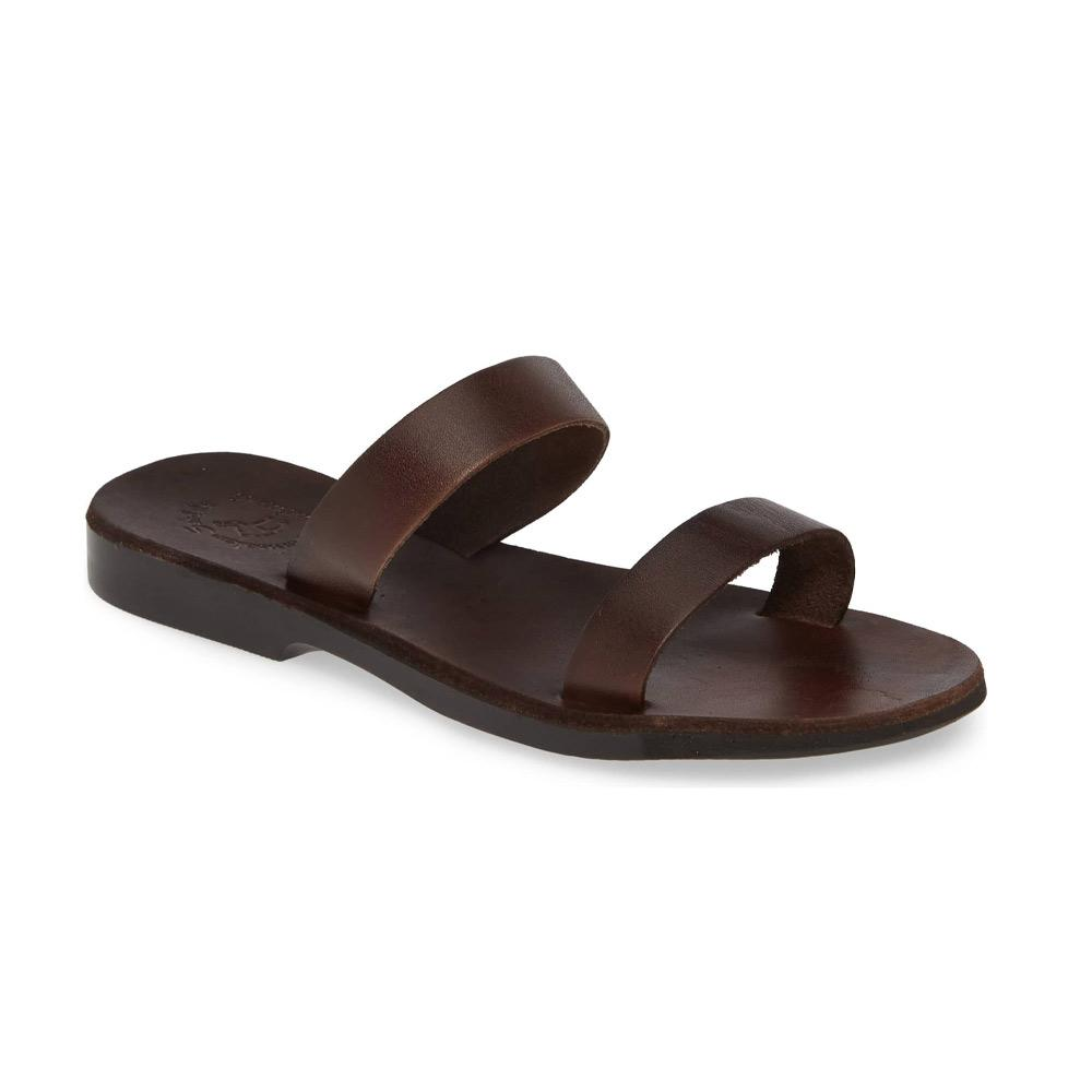 Ada brown, handmade leather slide sandals - Front View