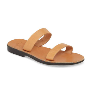 Ada tan, handmade leather slide sandals - Front View