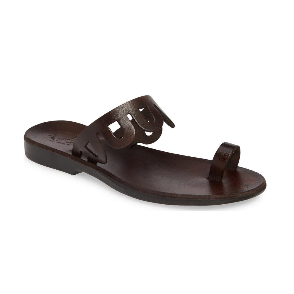 Aja brown, handmade leather slide sandals with toe loop - Front View