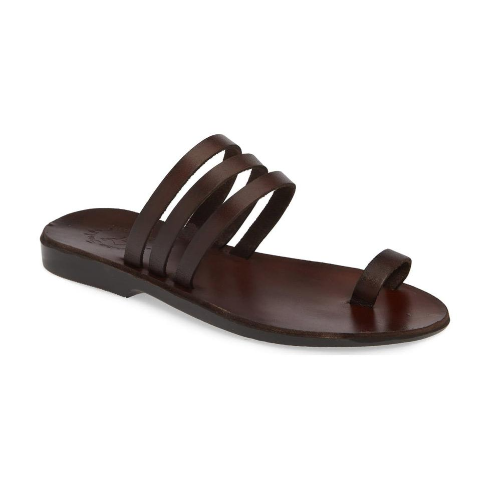 Angela brown, handmade leather slide sandals with toe loop - Front View