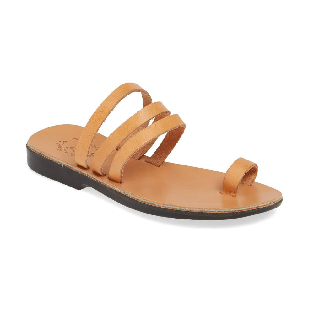 Angela tan, handmade leather slide sandals with toe loop - Front View