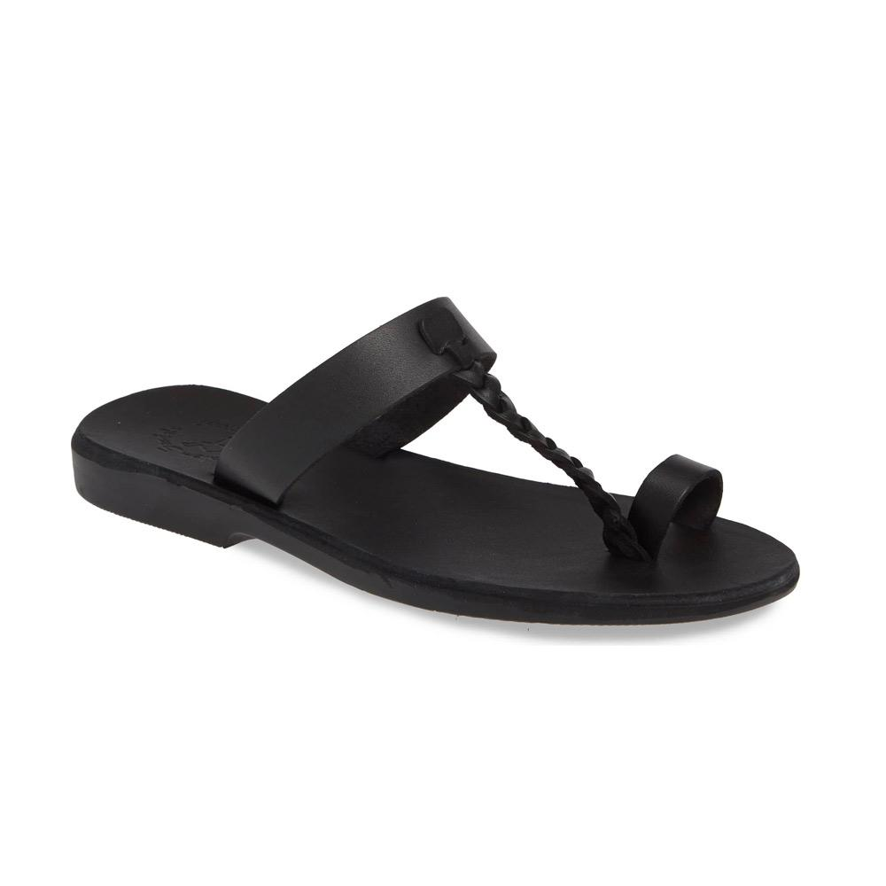 Ara black, handmade leather slide sandals with toe loop - Front View