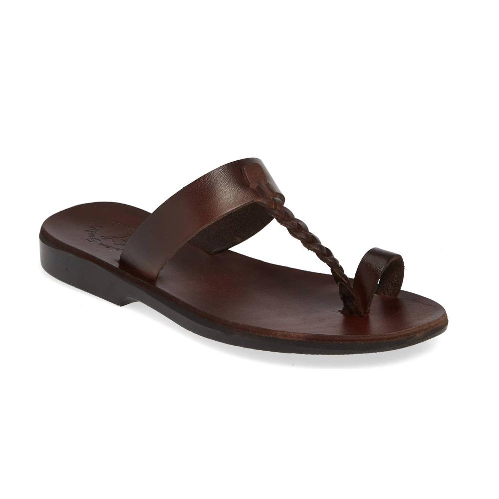 Ara brown, handmade leather slide sandals with toe loop - Front View