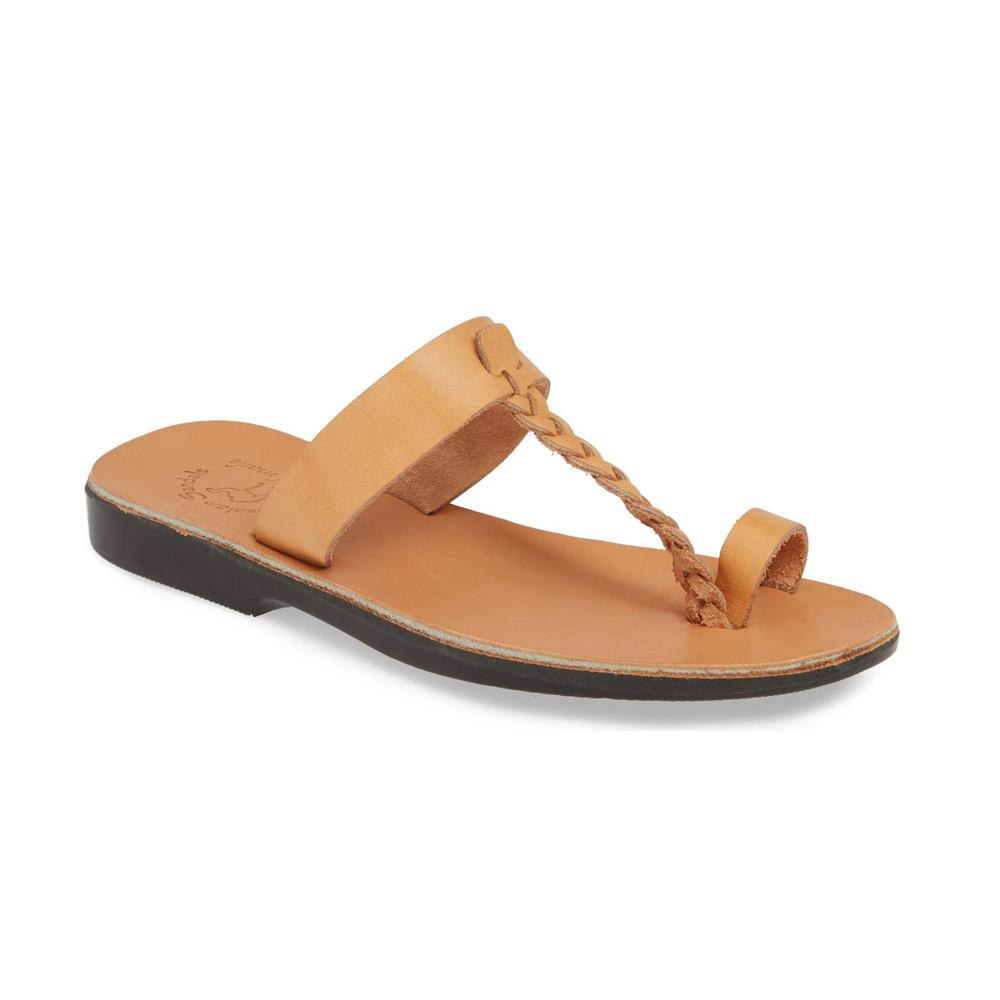 Ara tan, handmade leather slide sandals with toe loop - Front View