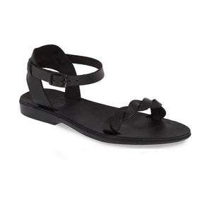 Arden black, handmade leather sandals with back strap  - Front View