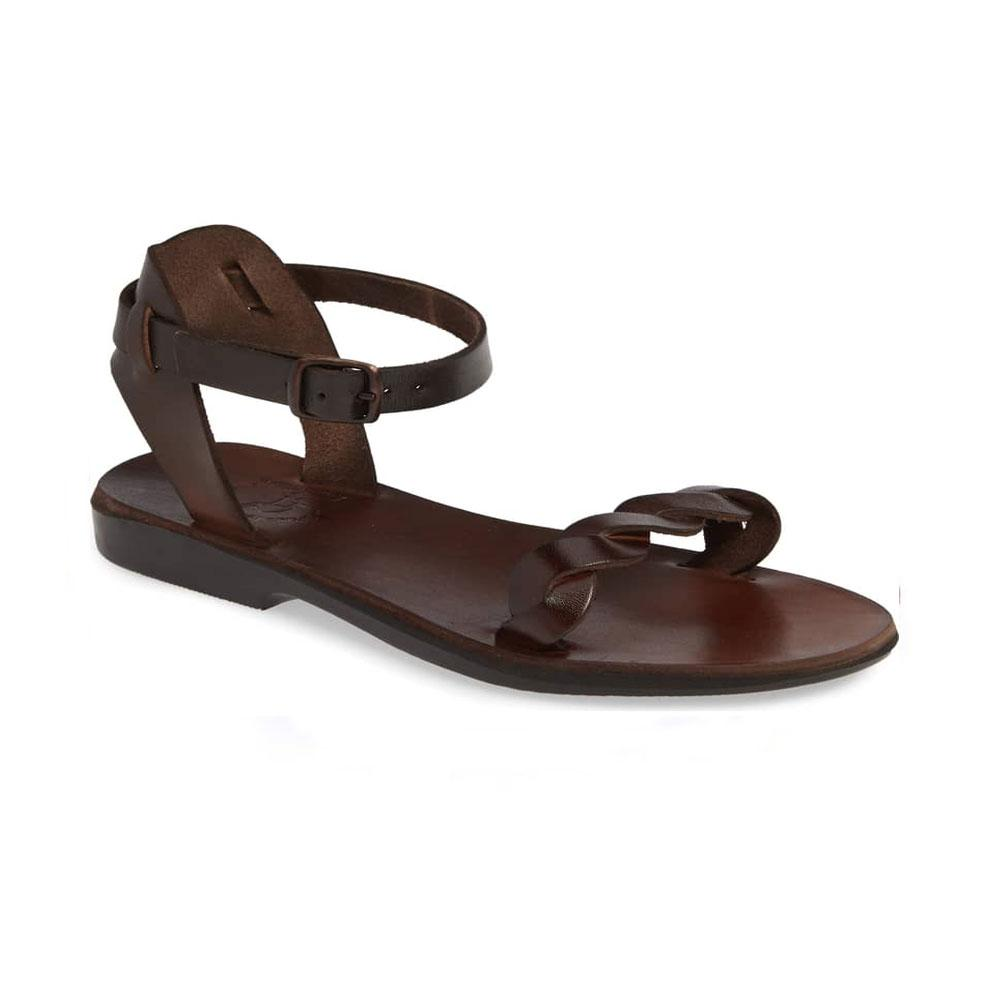 Arden brown, handmade leather sandals with back strap  - Front View