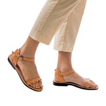 Load image into Gallery viewer, Model wearing Arden tan, handmade leather sandals with back strap