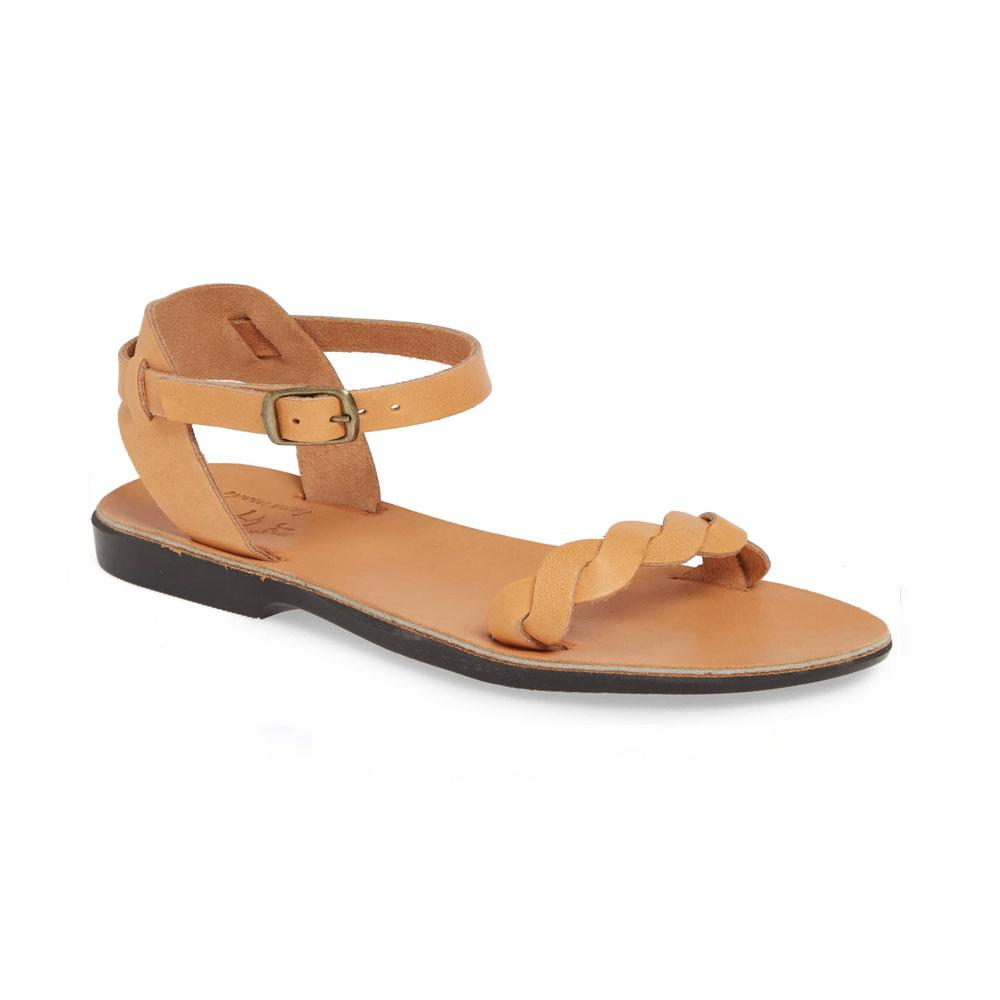 Arden tan, handmade leather sandals with back strap  - Front View