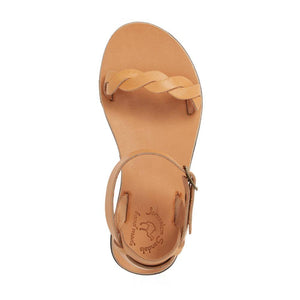 Arden tan, handmade leather sandals with back strap  - Side View