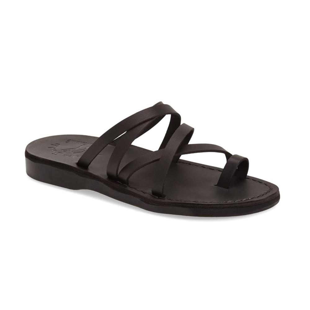 Ariel black, handmade leather slide sandals with toe loop - Front View