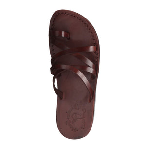 Ariel brown, handmade leather slide sandals with toe loop - up View