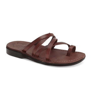 Ariel brown, handmade leather slide sandals with toe loop - Front View