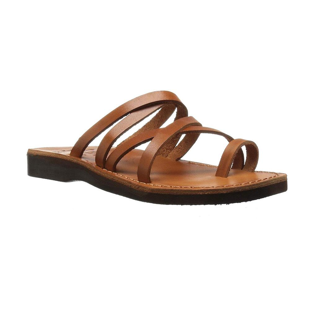 Ariel honey, handmade leather slide sandals with toe loop - Front View