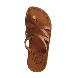 Ariel honey, handmade leather slide sandals with toe loop - side View