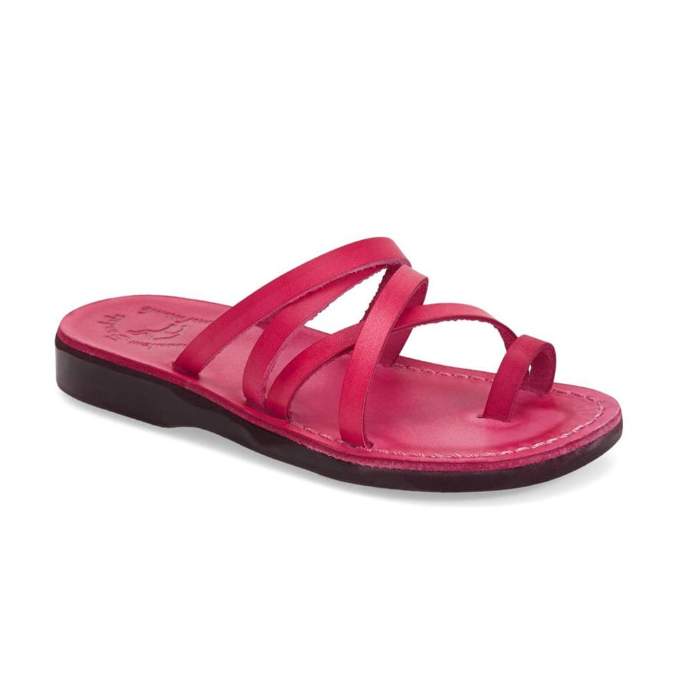 Ariel pink, handmade leather slide sandals with toe loop - Front View