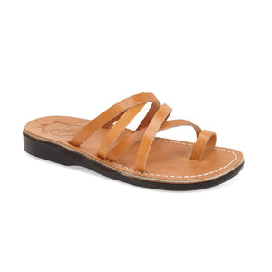 Ariel tan, handmade leather slide sandals with toe loop - Front View