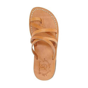 Ariel tan, handmade leather slide sandals with toe loop - Side View