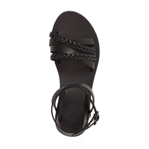 Asa black, handmade leather sandals with back strap  - Side View