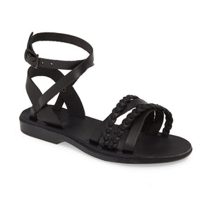 Asa black, handmade leather sandals with back strap  - Front View