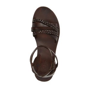 Asa brown, handmade leather sandals with back strap  - Side View