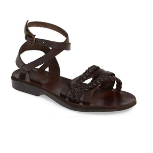 Asa brown, handmade leather sandals with back strap  - Front View