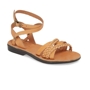 Asa tan, handmade leather sandals with back strap  - Front View