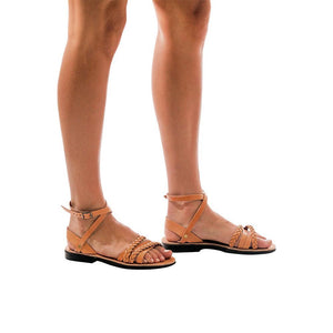 Model wearing Asa tan, handmade leather sandals with back strap