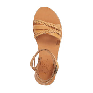 Asa tan, handmade leather sandals with back strap  - Side View