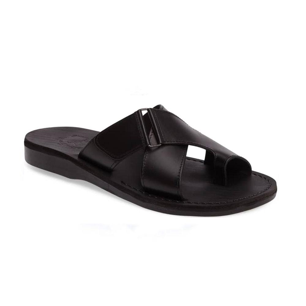Asher Black, handmade leather slide sandals with toe loop - Front View
