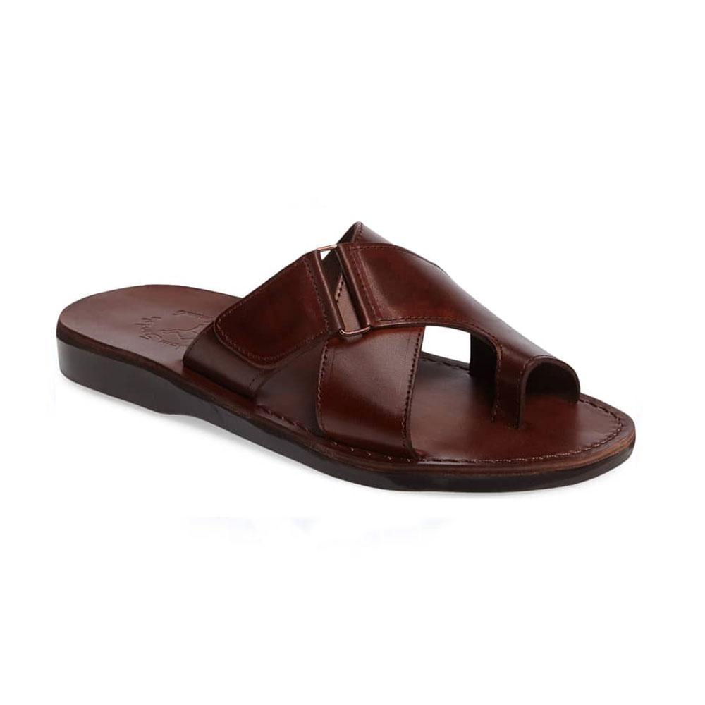 Asher Brown, handmade leather slide sandals with toe loop - Front View
