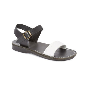 Atara black white, handmade leather sandals with back strap