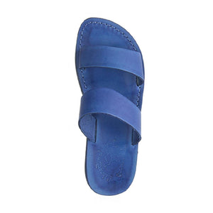 Aviv Blue, handmade leather slide sandals - Side View