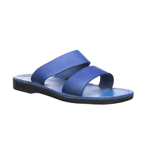 Aviv Blue, handmade leather slide sandals - Front View