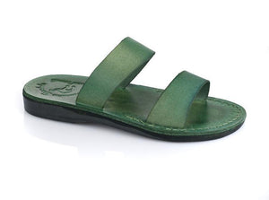 Aviv green, handmade leather slide sandals - Front View