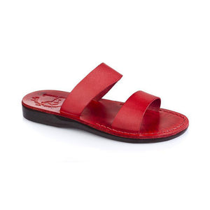 Aviv red, handmade leather slide sandals - Front View
