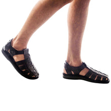 Load image into Gallery viewer, Model wearing Barak Black, handmade leather sandals fisherman sandal silhouette