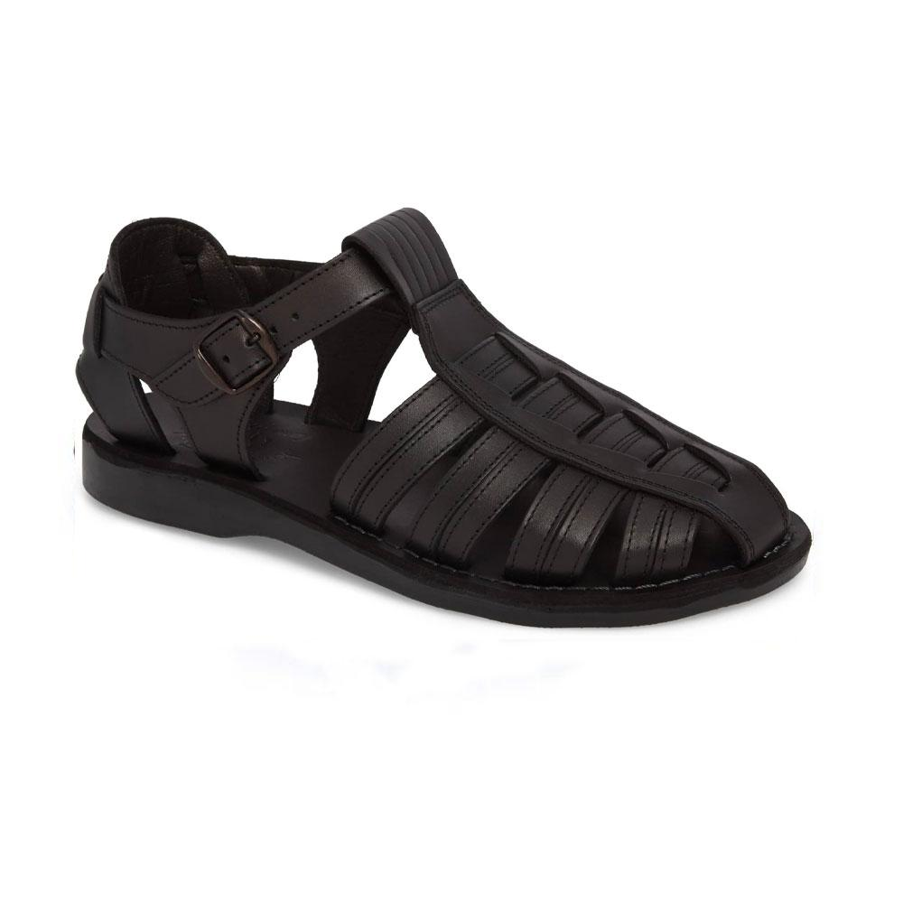Barak Black, handmade leather sandals fisherman sandal silhouette. Front View