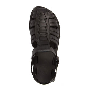 Barak Black, handmade leather sandals fisherman sandal silhouette. Side View