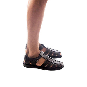 Model wearing Barak Black, handmade leather sandals fisherman sandal silhouette