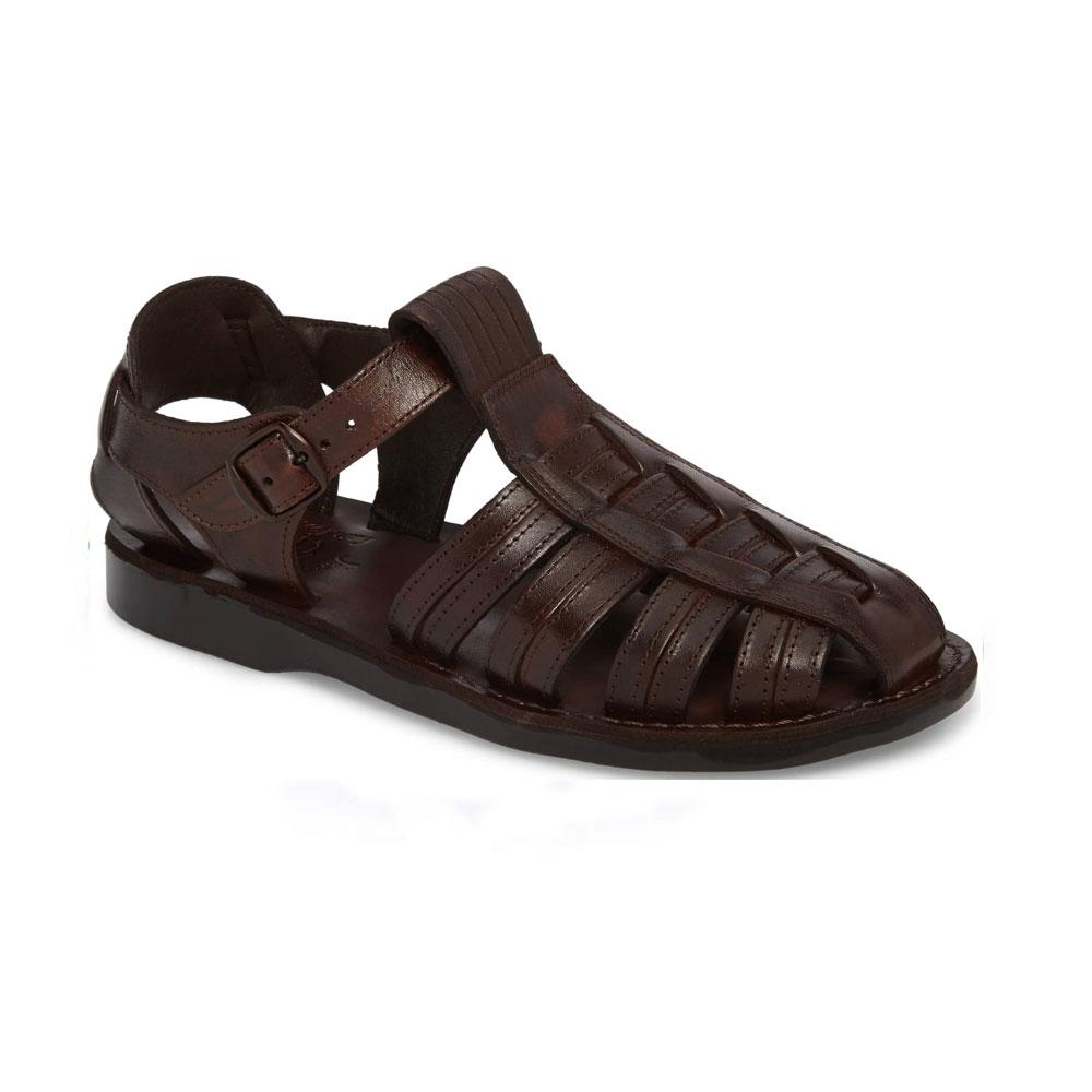 Barak Brown, handmade leather sandals fisherman sandal silhouette. Front View