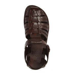 Barak Brown, handmade leather sandals fisherman sandal silhouette. side View