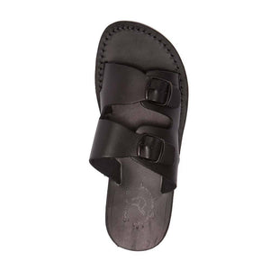 Barnabas Black, handmade leather slide sandals - Side View
