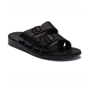 Barnabas Black, handmade leather slide sandals - Front View