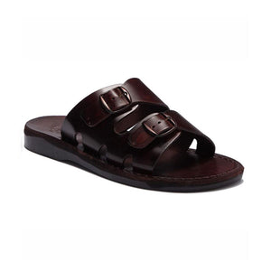 Barnabas Brown, handmade leather slide sandals - Front View