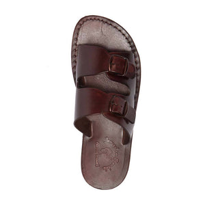 Barnabas Brown, handmade leather slide sandals - Side View