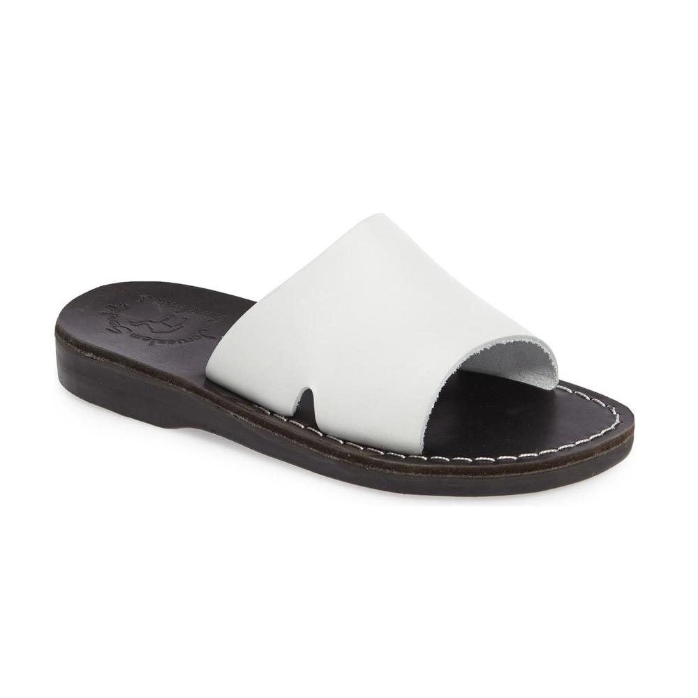 Bashan black and white, handmade leather slide sandals - Front View